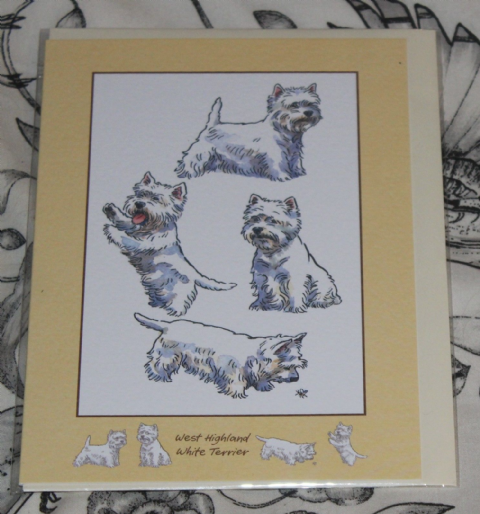 WEST HIGHLAND TERRIER GREETINGS CARD with pictures of the breed